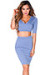 """Traci"" Serenity Blue 3/4 Sleeve V Neck Crop Top & Pencil Skirt 2 Piece Dress"