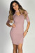 """In the City"" Mauve Ribbed Half Sleeve Asymmetrical Hem Bodycon Choker Dress"