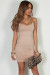 """All Or Nothing"" Taupe Spaghetti Strap Mini Dress"