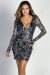 """Estella"" Silver Abstract Pattern Long Sleeve Sequin Dress"