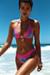 Laguna Aqua Tropical & Pink Single Edge Lace Bikini Top & Maui Aqua Tropical & Pink Lace Band Bikini Bottom