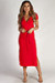"""""""Next To You"""" Pure Red Ribbed Wrap Dress"""