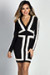 """Patience"" Black & Nude Two-Tone Long Sleeve Mini Dress"