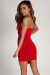 """Ask About Me"" Red Spaghetti Strap Draped Asymmetrical Mini Dress"