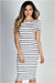 """Jamie"" White & Navy Striped Short Sleeve Bodycon T Shirt Midi Dress"