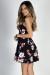 """""""Sunday Brunch"""" Black Floral Strappy Plunging Neckline Skater Dress"""