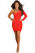 """Vivica"" Red One Shoulder Bodycon Club Dress"