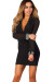 """Bijou"" Black Wrap Front Long Sleeve Cocktail Dress with Jewel Cuffs"