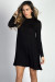"""Seda"" Black Mockneck Long Sleeve Trapeze Dress"