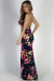 """Feel My Love"" Navy Floral Print Double Slit Maxi Dress"