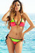 Zuma Neon Coral & Green Triangle Top & Scrunch Bottom Sexy Color Block Swimwear