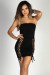"""""""Tie Me Up"""" Black Lace Up Thigh High Cut Out Strapless Mini Dress"""