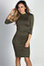 """Alva"" Olive Green 3/4 Sleeve Jersey Bodycon Turtleneck Midi Dress"