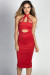 """Shari"" Cherry Red Ultrasuede Cut Out Halter Midi Dress"
