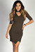 """In the City"" Olive Ribbed Half Sleeve Asymmetrical Hem Bodycon Choker Dress"