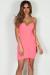 """Love Sick"" Neon Pink Spaghetti Strap Ruched Mini Dress"