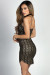 """Caia"" Black & Gold Glitter Spaghetti Strap Bodycon Party Dress"