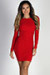 """""""Party Perfection"""" Red Glitter Long Sleeve Backless Mini Dress"""
