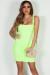 """Always On Time"" Neon Yellow Layered Square Neck Mini Dress"