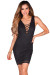 """Christen"" Black Sleeveless Plunging Lattice Cut Out Lace Cocktail Dress"