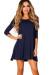 """""""Carly"""" Navy Blue Strappy Back 3/4 Sleeve Jersey Trapeze Dress"""