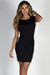"""Heartbeat"" Black Cap Sleeve Pleated Short Bodycon Cocktail Dress"