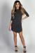 """Alaya"" Charcoal 3/4 Sleeve T-Shirt Tunic Dress"