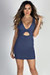 "You Love Me"" Denim Blue Deep V Bodycon Cut Out Mini Dress"