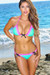 Orlando Mint & Neon Pink Sweetheart Lace Triangle Top Scrunch Bottom Swimsuit