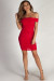 """""""Say Less"""" Red Off Shoulder Ruched Bodycon Mini Dress"""