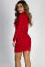 """Where Haven't We Been"" Red Ribbed Long Sleeve Merrow Hem Dress"
