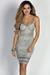"""Diandra"" Metallic Silver Sparkly Glitter Bustier Dress"