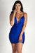 """""""Past Midnight"""" Royal Blue Plunging Neckline Ruched Bodycon Dress"""