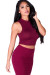 """London"" Burgundy Jersey Sleeveless High Neck Fashion Crop Top"