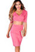 """Traci"" Coral Pink 3/4 Sleeve V Neck Crop Top & Pencil Skirt 2 Piece Dress"