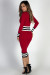 """Major League"" Red Zip Front Contrast Stripe Midi Sweater Dress"