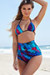 Waikiki Dreamcatcher Feather Print Triangle Top & Scrunch Bottom Retro Sexy High Waist Bikini