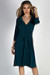 """Well Dressed"" Hunter Green 3/4 Sleeve A Line Wrap Dress"
