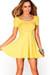 """""""Brynn"""" Yellow A-Line Empire Waist Casual Short Sleeve Dress"""