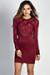 """Rita"" Burgundy Long Sleeve Studded Mesh Sheer Top Mini Dress"