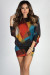 """""""Autumn in New York"""" Multicolor Abstract Print Dolman Sweater Dress"""