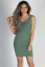"""Crazy in Love"" Sage Green Sexy Bodycon Lace Up Tank Dress"