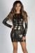 """Mirror Mirror"" Black & Gold Long Sleeve Sequin Cocktail Dress"