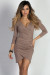 """Gemma"" Taupe 3/4 Sleeve Ruched Jersey Wrap Dress"