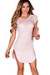 """Ciara"" Blush Ribbed Jersey Short Sleeve Bodycon Casual Tunic Dress"