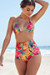 Waikiki Sunset Tropical Print Triangle Top & Scrunch Bottom Retro Sexy High Waist Bikini
