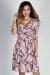 """Happy Hour"" Coral & Navy Abstract Print 3/4 Sleeve Surplice Neckline Dress"