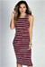 """Nautical Chic"" Burgundy & White Striped Sleeveless Bodycon Jersey Midi Dress"