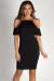 """Better Off Alone"" Black Cold Shoulder Halter Dress"