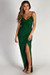 """Silver Screen Siren"" Hunter Green Sparkly Lurex Wrap Maxi Gown"